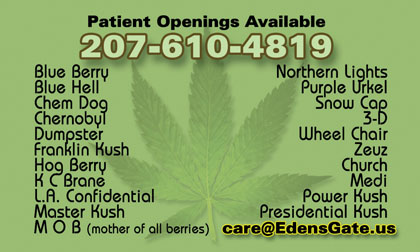 Maine Medical Marijuana Care Provider Ellsworth ME (207) 610-4819